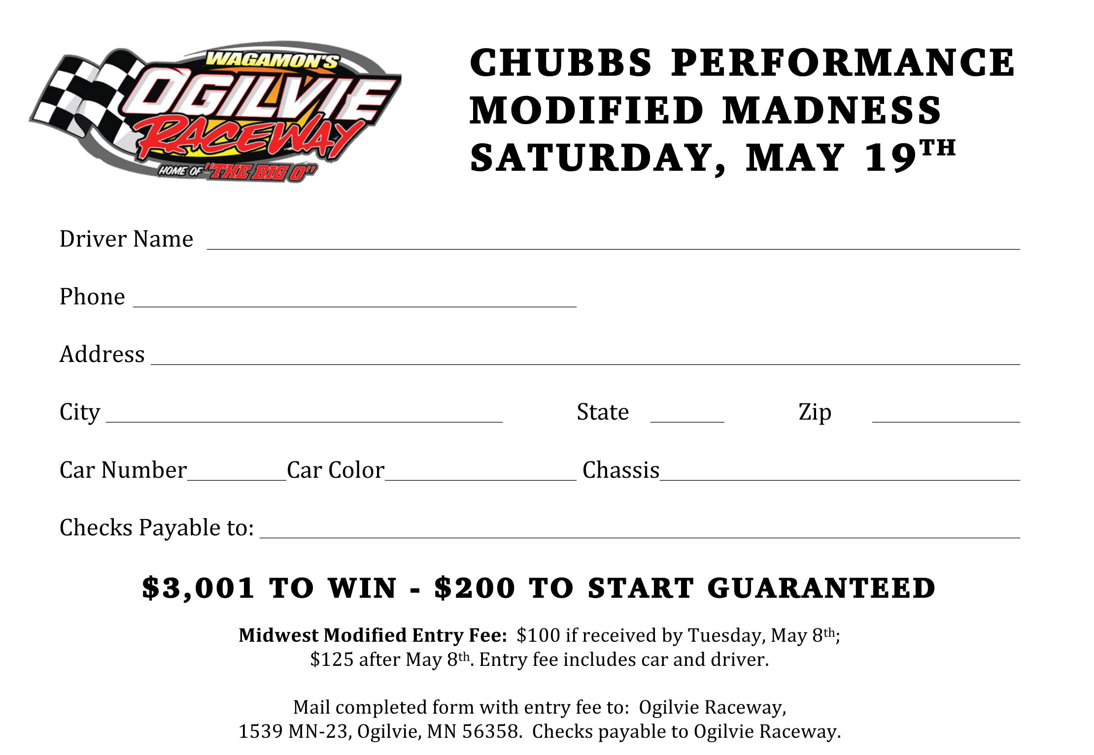MWM Drivers – Register now for Chubbs Performance MODIFIED MADNESS $3K to WIN presented by the U.S. Army