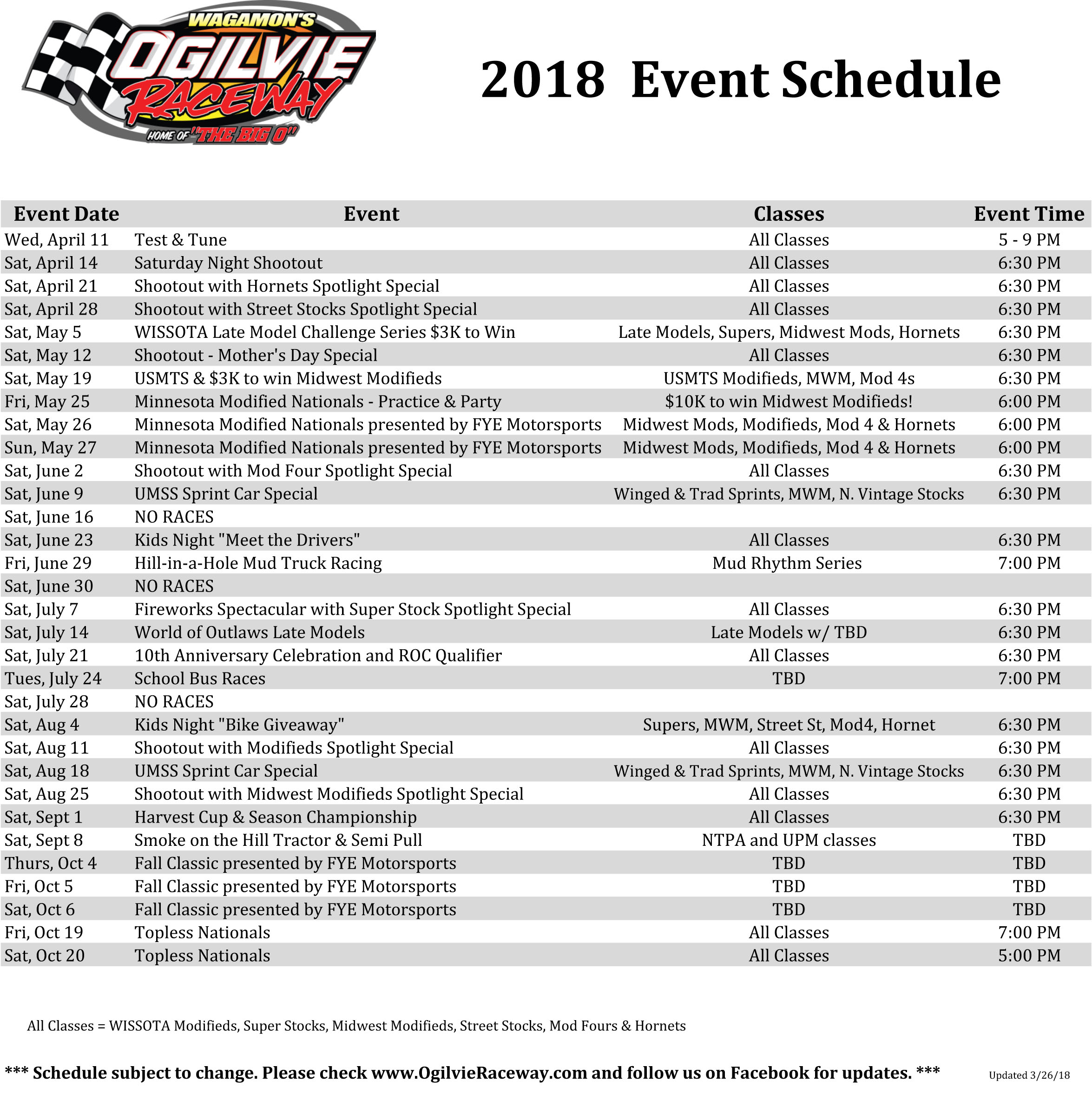 2018 Season Schedule Announcement