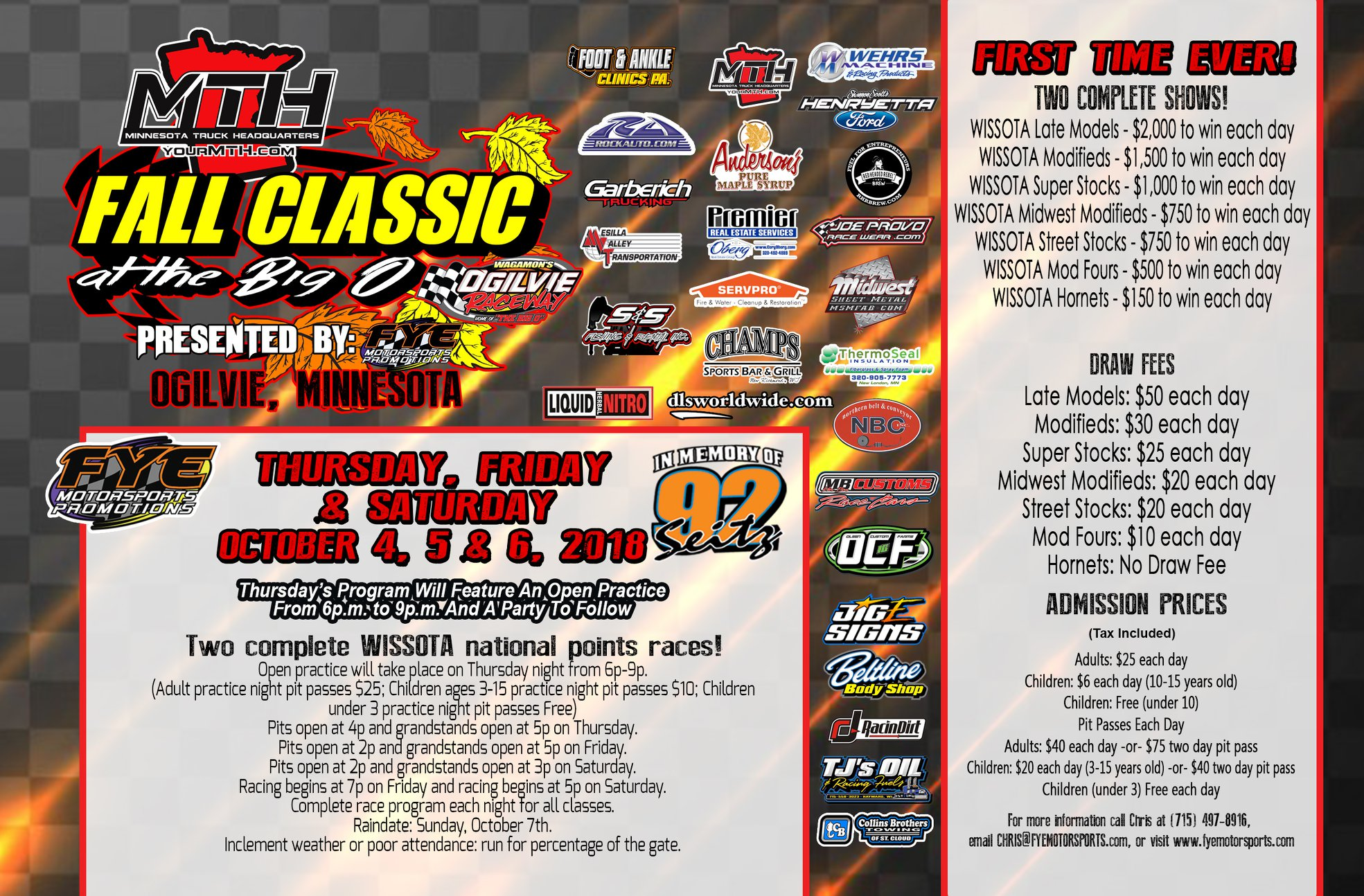 MTH Fall Classic at the Big O – October 4th – 6th
