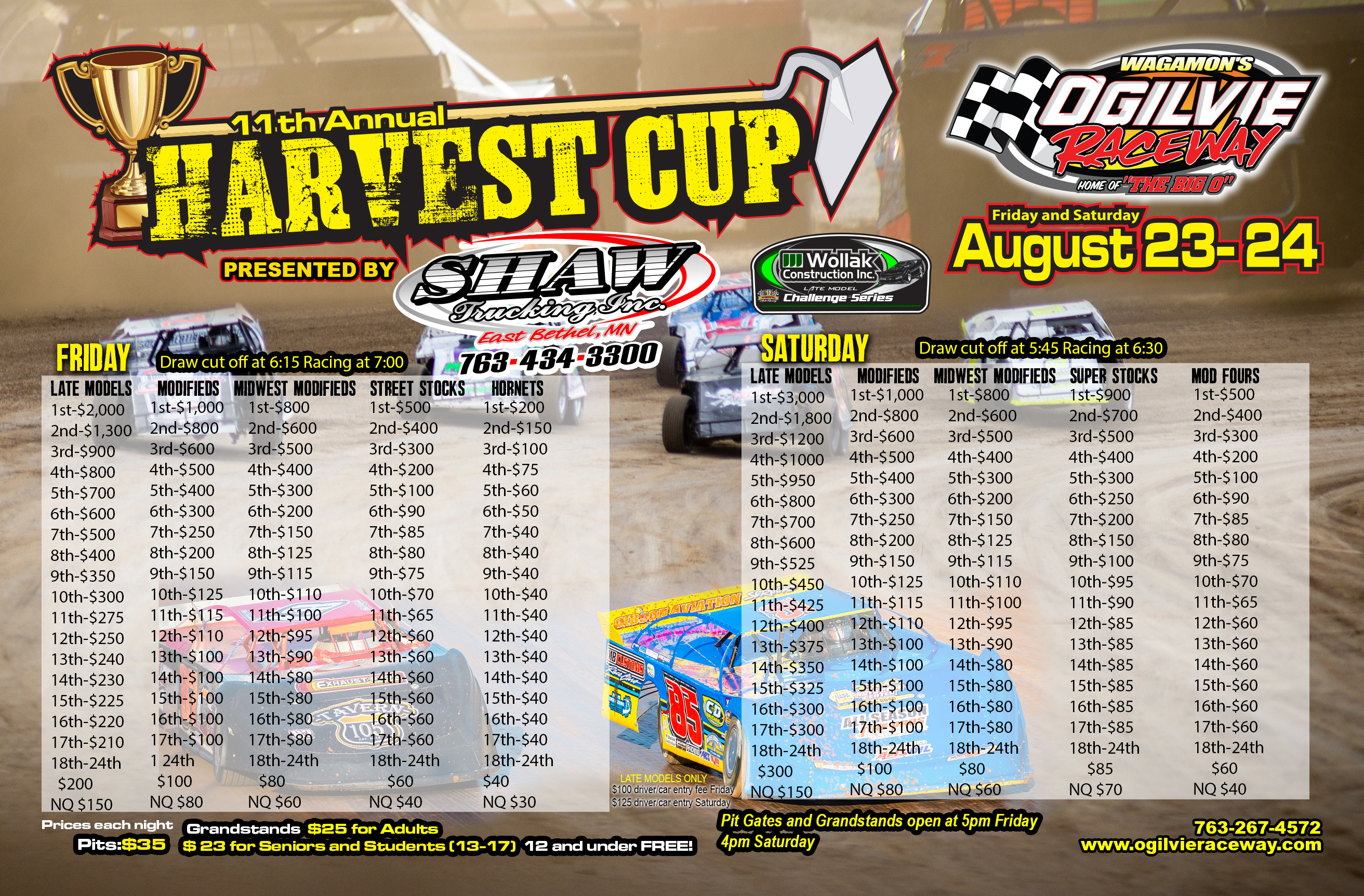 Late Model Challenge Series at the Harvest Cup Friday & Saturday, Aug. 23-24