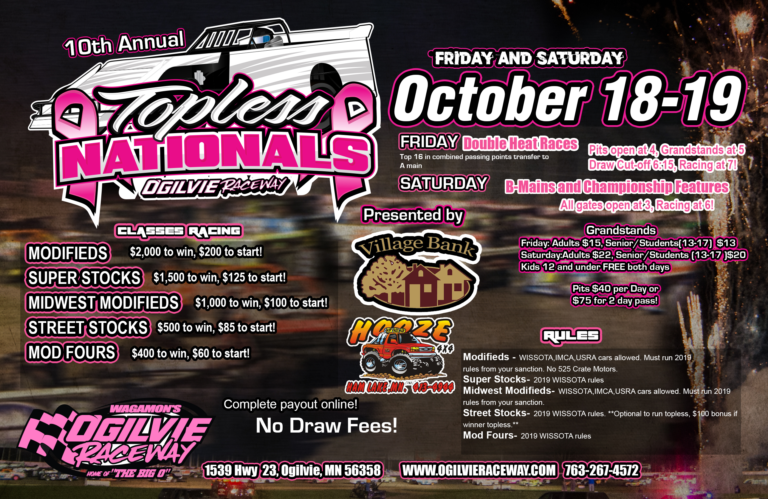 10th Annual Topless Nationals – Friday & Saturday, October 18th and 19th