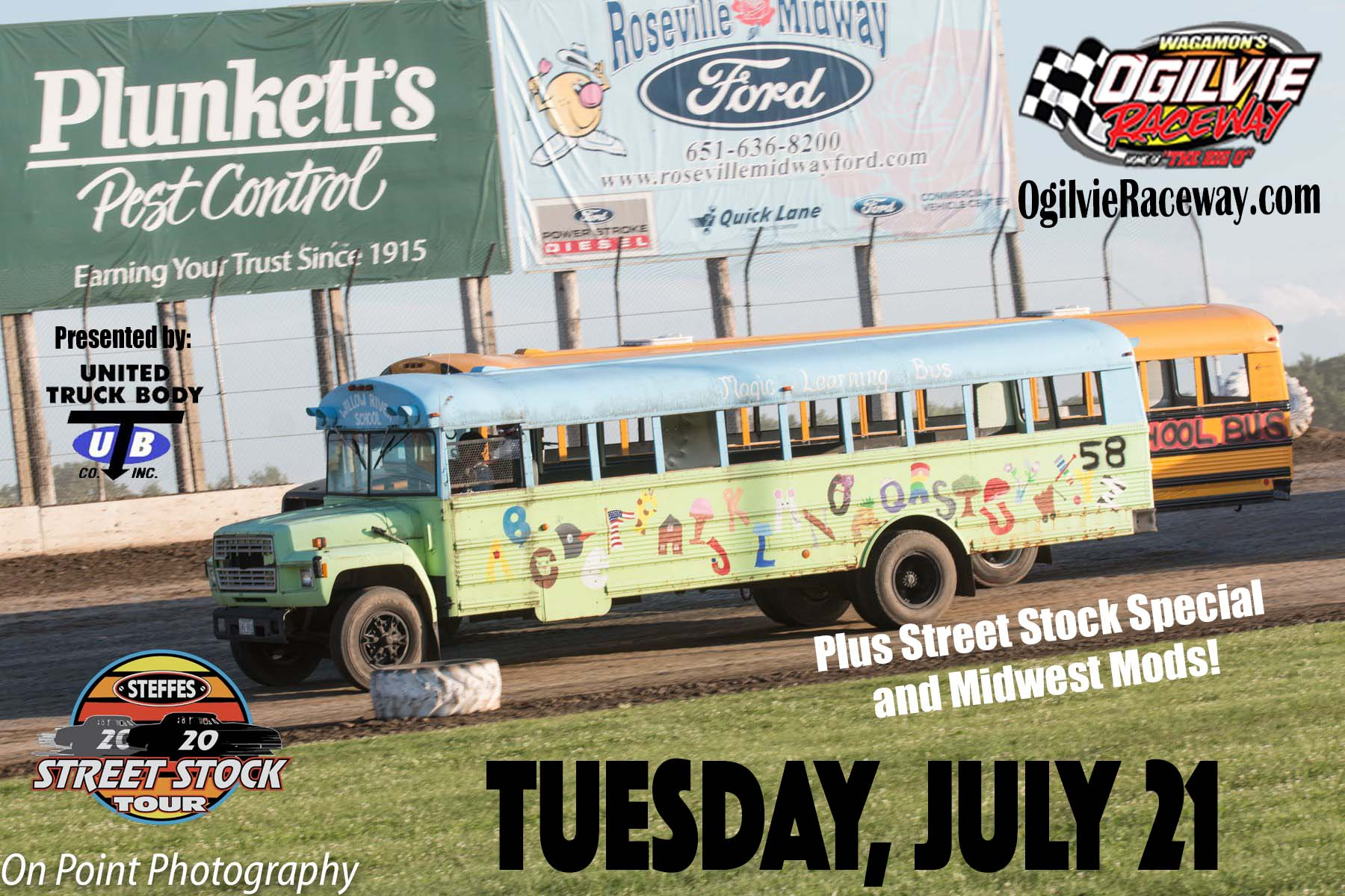 TUESDAY, JULY 21st – School Bus Races plus Street Stock Tour and Midwest Mods