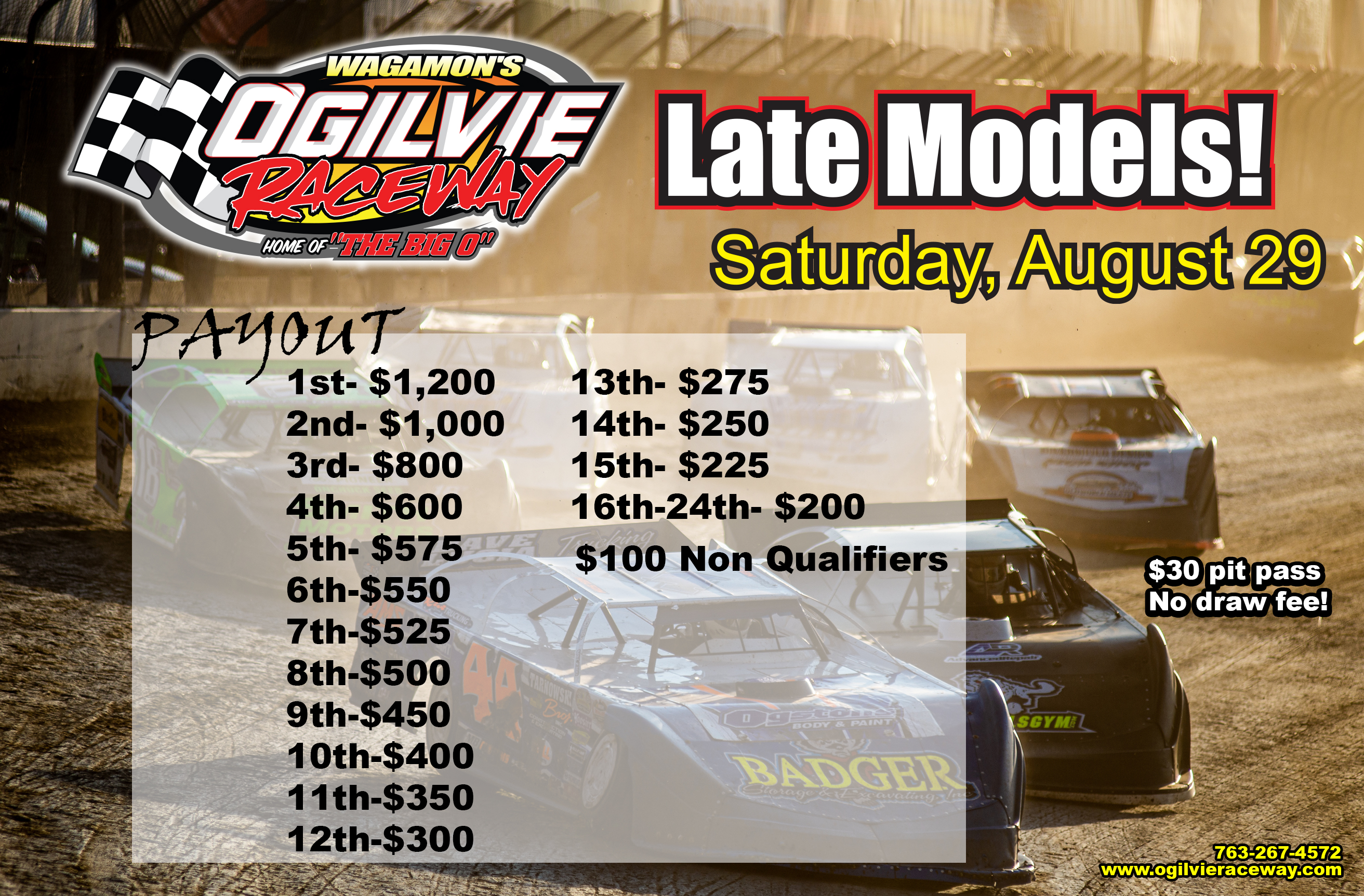 Late Models and Track Championship on Saturday, August 29th